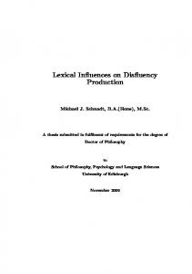 Lexical Influences on Disfluency Production - Edinburgh Research ...
