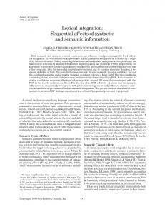 Lexical integration: Sequential effects of syntactic and ...