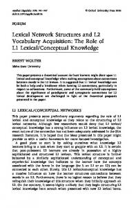 Lexical Network Structures and L2 Vocabulary