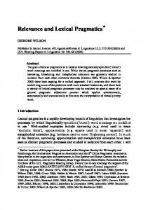 Lexical pragmatics is a rapidly developing branch of ...