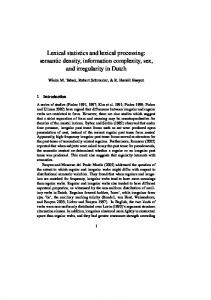 Lexical statistics and lexical processing: semantic density ... - CiteSeerX