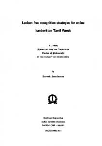 Lexicon-free recognition strategies for online handwritten Tamil ... - IISc