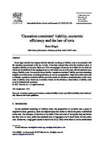 liability, economic efficiency and the law of torts - Delhi School of
