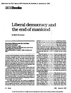 Liberal Democracy and the End of Mankind
