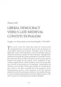 Liberal Democracy versus Late Medieval ... - Redescriptions