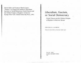 Liberalism, Fascism, or Social Democracy