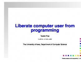 Liberate computer user from programming - Mathematical Sciences ...