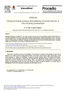 Library Promotion Practices and Marketing of