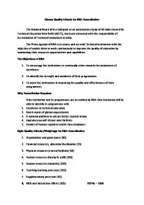 Library Quality Criteria for NBA Accreditation The National Board of ...