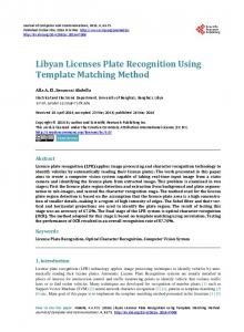 Libyan Licenses Plate Recognition Using Template Matching Method