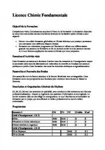 Licence Chimie Fondamentale
