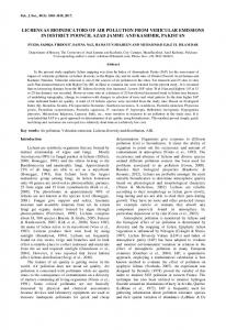 lichens as bioindicators of air pollution from vehicular emissions in ...