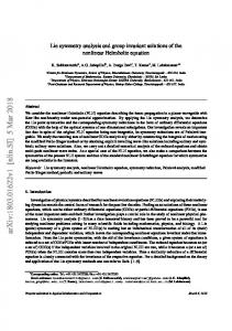 Lie symmetry analysis and group invariant solutions of the nonlinear ...