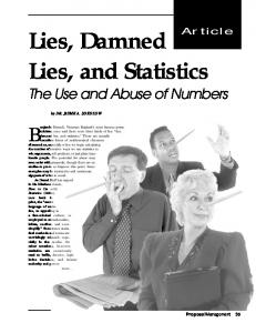 Lies, Damned Lies, and Statistics - Jayme A. Sokolow