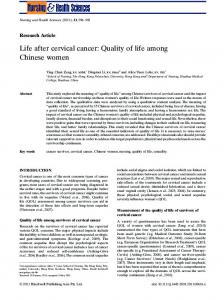 Life after cervical cancer - Wiley Online Library