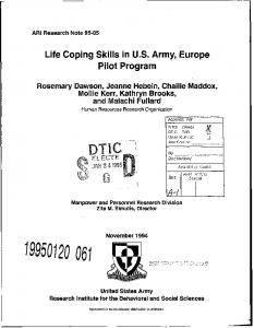 Life Coping Skills in US Army, Europe