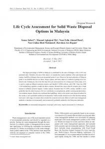 Life Cycle Assessment for Solid Waste Disposal Options in Malaysia