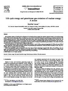 Life cycle energy and greenhouse gas emissions of nuclear energy ...