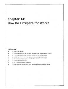 Life Planning Education - Chapter 14: How Do I Prepare for Work?