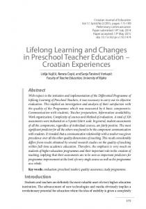 Lifelong Learning and Changes in Preschool Teacher Education ...