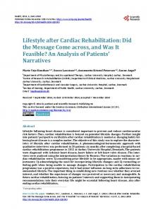 Lifestyle after Cardiac Rehabilitation - Semantic Scholar