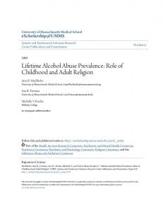 Lifetime Alcohol Abuse Prevalence: Role of Childhood and Adult ...