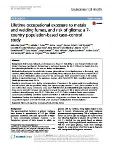 Lifetime occupational exposure to metals and welding fumes, and risk ...