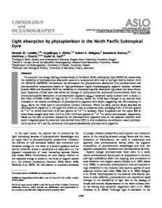Light absorption by phytoplankton in the North Pacific ... - ASLO - Wiley