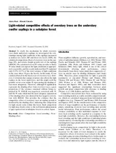 Light-related competitive effects of overstory trees on the understory ...