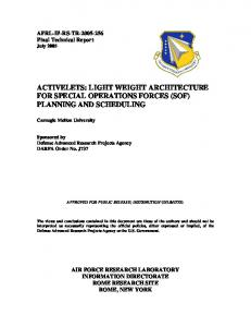 light weight architecture for special operations forces (sof) planning ...