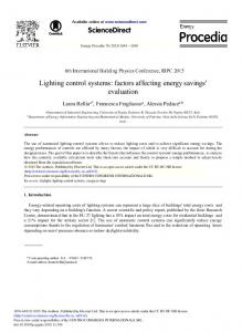 Lighting Control Systems: Factors Affecting Energy ... - ScienceDirect