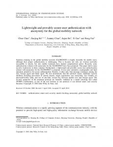 Lightweight and provably secure user ... - Semantic Scholar
