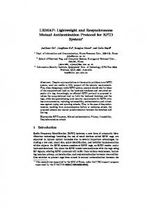 Lightweight and Resynchronous Mutual Authentication Protocol for ...