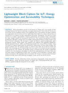 Lightweight Block Ciphers for IoT: Energy