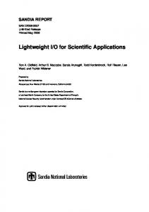 Lightweight I/O for Scientific Applications - 400 Bad Request - Sandia ...