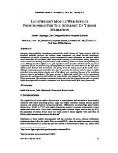 lightweight mobile web service provisioning for ... - Aircc Digital Library
