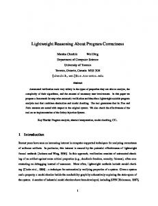 Lightweight Reasoning About Program Correctness - Semantic Scholar