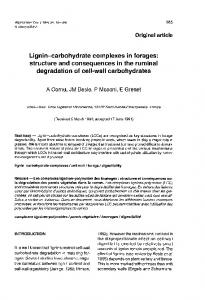 Lignin-carbohydrate complexes in forages: degradation of cell-wall ...