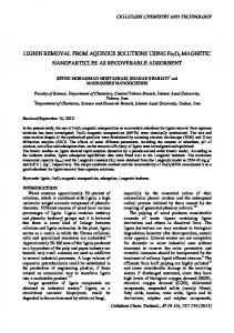 Lignin removal from aqueous solutions using Fe3O4 magnetic ...