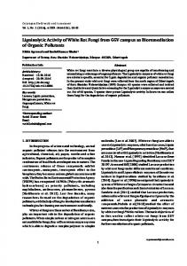 Ligninolytic Activity of White Rot Fungi from GGV ...