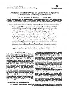 Limitations to Reproductive Output and Genetic ... - Oxford Journals