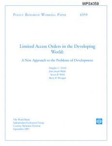 Limited Access Orders in the Third World - (SSRN) Papers