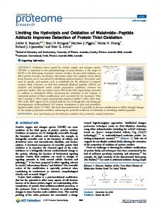 Limiting the Hydrolysis and Oxidation of Maleimide ... - ACS Publications