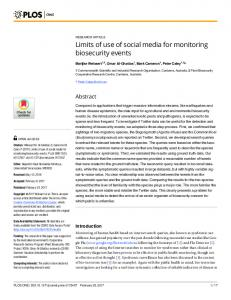 Limits of use of social media for monitoring ... - Semantic Scholar