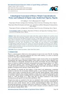 Limnological Assessment of Heavy Metals ... - ARC Journals