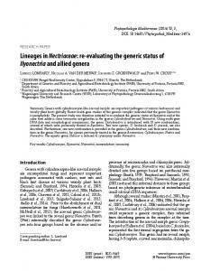 Lineages in Nectriaceae: re-evaluating the generic status of ...