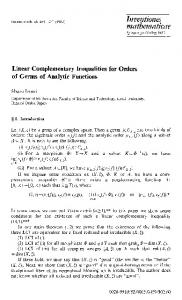 Linear complementary inequalities for orders of germs ... - Springer Link
