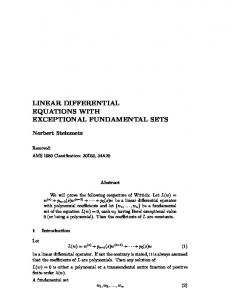 linear differential equations with exceptional fundamental sets