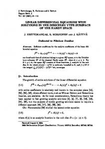 linear differential equations with solutions in the ... - Project Euclid