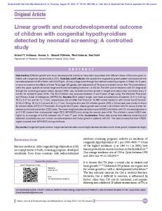 Linear growth and neurodevelopmental outcome of ...